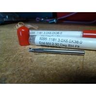 """.1181"""" 3mm 2FL STUB CARBIDE END MILL .1181"""" 3mm X .3mm"""" X 6mm X 38mm"""