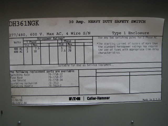 Eaton Cutler-Hammer DH361NGK 30 Amp Heavy Duty Safety Switch ...