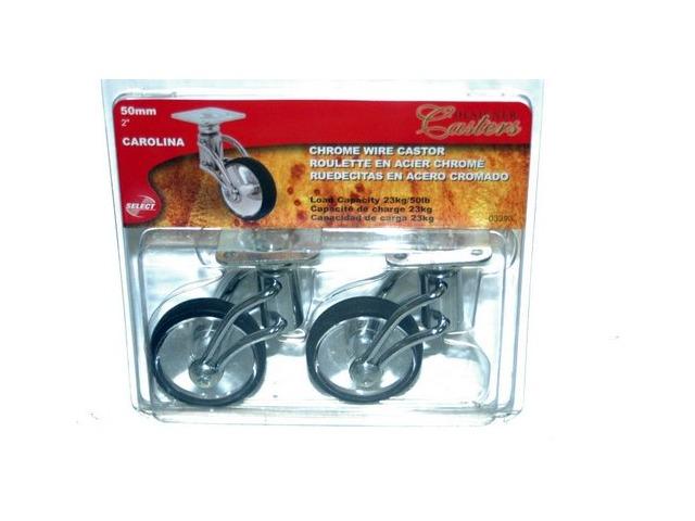 Chrome Finish Forks w/Glass Effect Wheel 'Carolina' 50mm # 03393 2 pack caster