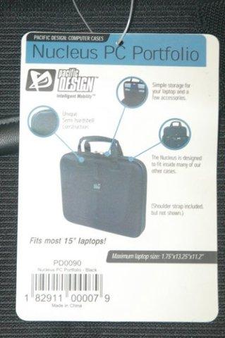 "Nucleus PC Portfolio - Pacific Design - New - Fits most 15"" laptops."