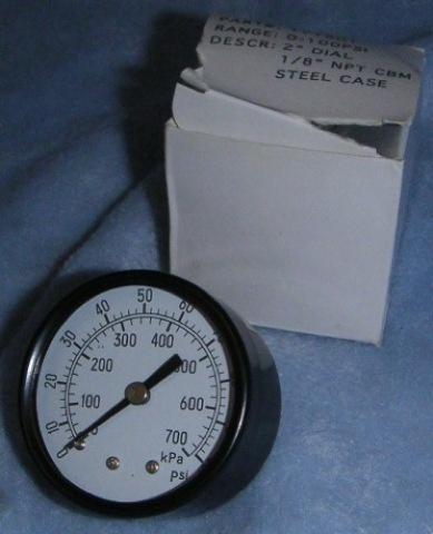 "Pneumatic Pressure Gauge 0-100 PSI, 2"" Dial, 1/8"" NPT CBM Steel Case #171901"