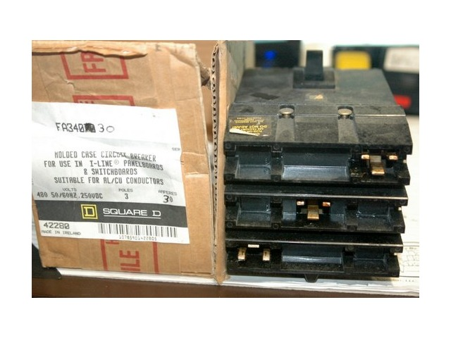 Square D Circuit Breaker FA34030 30 Amp 480 Volt 3 Pole