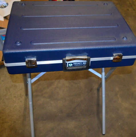 Blue Portable Voting Booth/Desk - Carry it like a briefcase.
