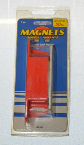 "Universal Latch Magnet. Lifts upto 50 lbs. 4.25""L x 1.125""T x .9375""W. #07502"