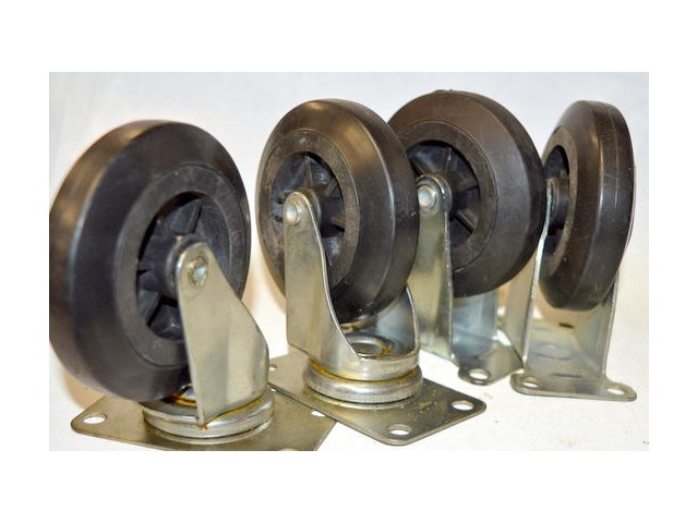 "4"" x 1 "" Caster set-2 Swivel, 2 Rigid, Plate mount, Rubber on Poly - 600 lb cap per set"