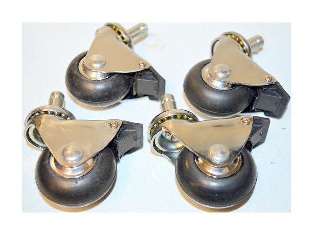 "Set of 4, 2"" x 7/8"" rubber wheel-round tread, wheel lock only, swivel casters."