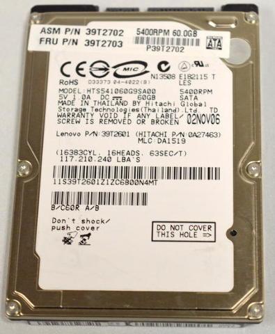 "CE-MIC, Model#HTS541060G9SA00, Lenovo #39T2601, 5V, 1.OADC, 60GB, 2.5"" hard drive"
