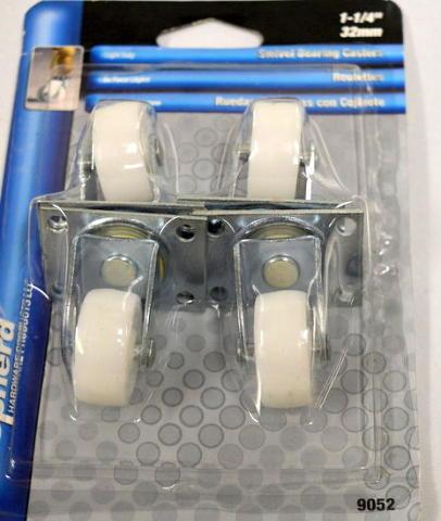 """Shepherd #9052-4 pk-1 1/4"""" Swivel plate mount casters, 1 3/16x2"""" plate, 40lb cap per."""