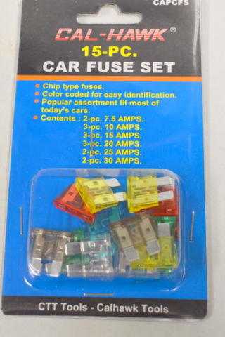 Cal Hawk #CAPCFS-15 pc Car Fuse Set - Chip type fuses-Color coded. Fits most cars.