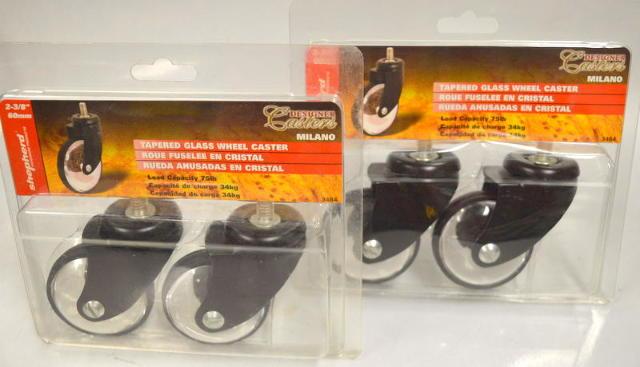 "Shepherd Caster #3484-4 pc set - 2 3/8"" tapered glass wheel caster Black & Clear"