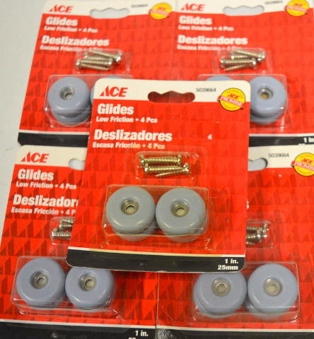 """Ace Glides #5039664 - 1"""" Round Screw On Glides-Low Friction 4 per pk - 5 packs"""
