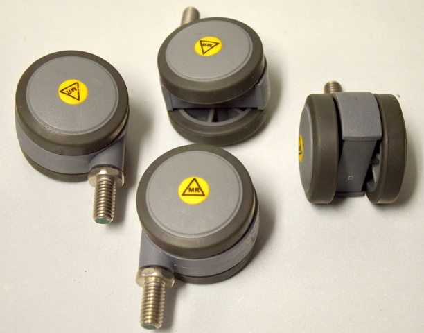 "2"" Dual Whl Caster-TRP Wheels,3/8-16x3/4"" SS Stem. 4 pc set - #104673m"