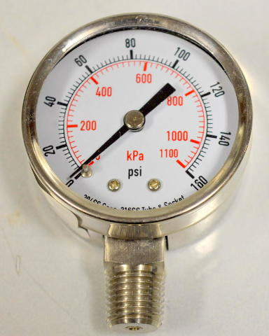 """Pressure Gauge Stainless Steel Body  #4FMK8 2"""", 0-160 PSI Individually boxed."""