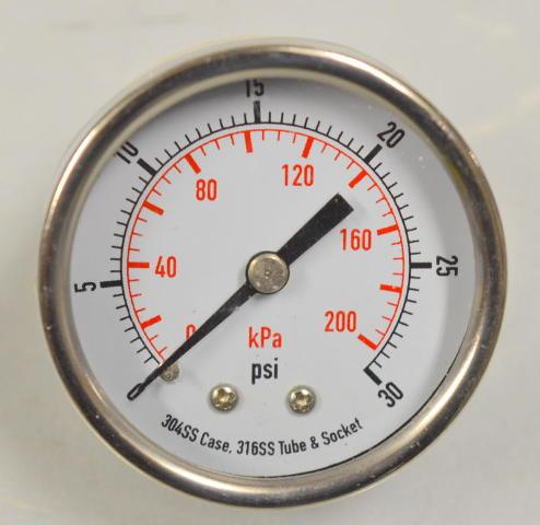 "Pressure Gauge #4FMK7 - 2"" 0-30PSI, (0-022Kpa) 1/4"" NPT, SS, Back Connect"