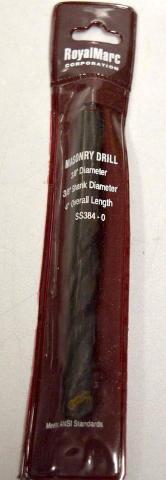 """RoyalMarc Masonry Drill, 3/8"""" Dia., 4"""" Overall Length, SS384-0"""