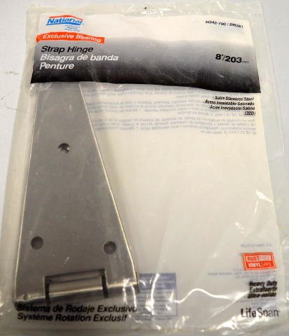 "National 8"" Satin-Stainless Steel Heavy Duty Strap Hinge #N342-790, BB281"