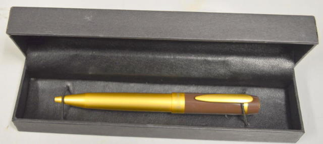 Lancaster Brass BROWN Top MATTE Gold Ball Pen BEAUTIFUL ITALY