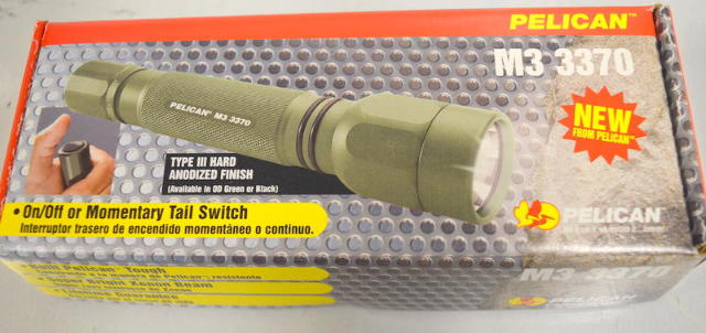 Details about Pelican M3 3370 Green Tactical Flashlight, Xenon Beam W/Case  and batteries