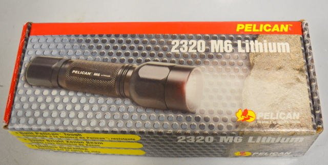 Pelican Flashlight 2320 M6 Black Aluminum Body, Lithium Battery w/Case - New old stock.