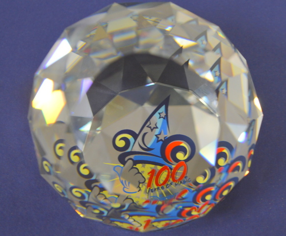 "Swarovski-Arribas Disney round paper weight ""100 Years of Magic"""