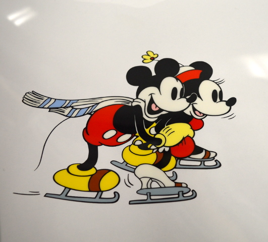 """Disney Unframed Limited Edition Serigraph Cel of Mickey & Minnie """"On Ice"""""""