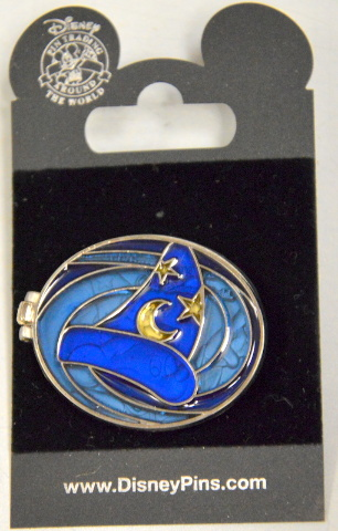 Disney Pin Sorcerer's Hat Hinged Stained Glass  Pin  opens to Mickey
