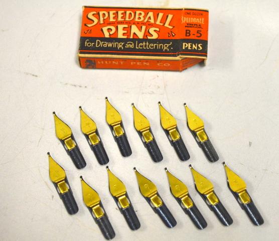 Antique Hunt Speedball Pens B-5 Drawing Lettering Triple Reservoir - 1 Doz.