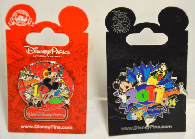 2 Disney Spinner Pins - 2011 and 2012 - Mickey and Friends