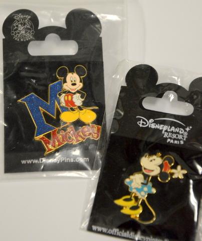 Disney Mickey Mouse Pin and Disneyland resort Paris Minnie Mouse Pin