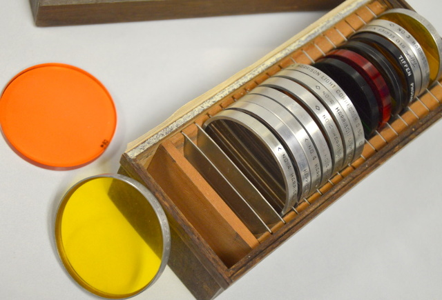1Mixed Box of 16 Harrison, Wratten, Tiffin Filters, Color filters and a Duraline.