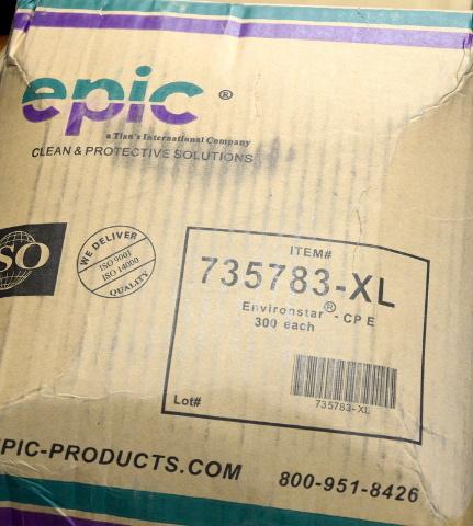 Epic 735783-XL Shoe Cover. Antistat PE W/PE Conductive Strip 300 per case.