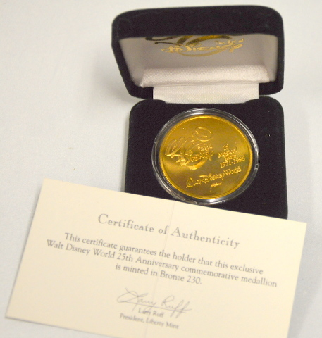 WDW 25 Magical Years 1971-1996 - Bronze Coin w/Certificate of Authenticity #230