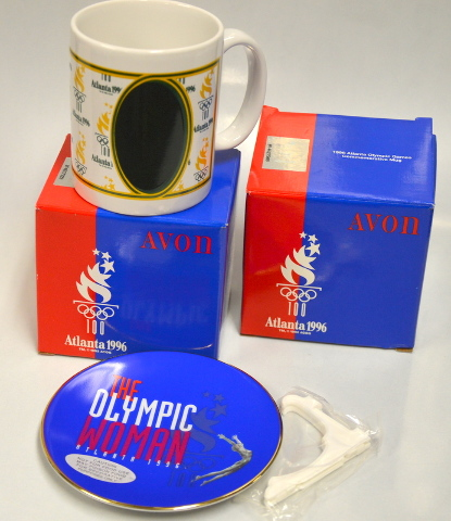 2 Avon 1996 Atlanta Olympic Mugs and 1 Avon Olympic Commemorative Plate.