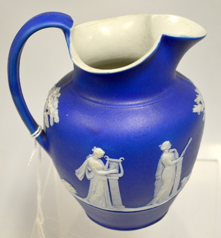 Wedgwood Embossed Blue Pitcher CB160 - Pre 1891 - CB160