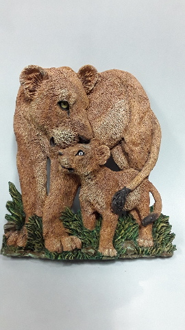 "Figi Graphics  ""Lions"" SC-AN-104 Mother and cub.  Ceramic Plaque 10"" x 8"" across."