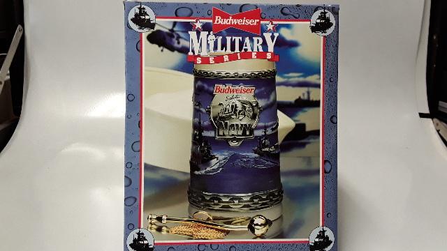 Vintage Budweiser Stein Military Series Salutes THe Navy - NIB