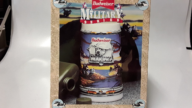 Vintage Budweiser Stein Military Series Salutes The Marines - NIB