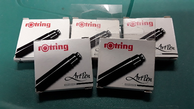 rotring Art Pen  Replacement Ink Cartridges Pack - 5 packs of 6 refill cartridges