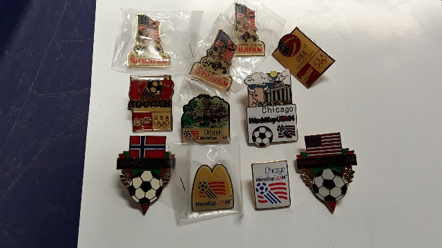 11 US World Soccer Pins -  Some cities and some branded. #814