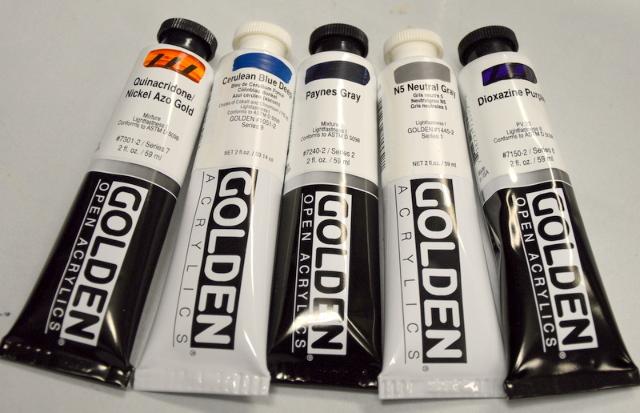 Golden Artist Colors-2 Fl Oz Tube-5 colors.#1051-2