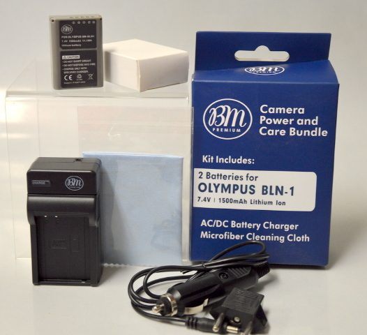 BMPremium Camera Power & Care Kit 2 Batteries, Charger, Cord & Cloth
