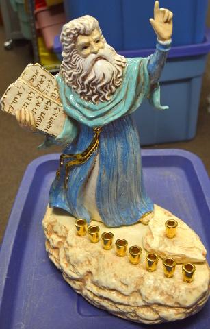 Ceramic Figure of Moses Standing on Rock Menorah holding the Ten Commandments