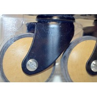 """2 3/8"""" Black Finish Forks with Wood Effect Wheel 'Milano' - 60mm #03630  Pk of 2."""