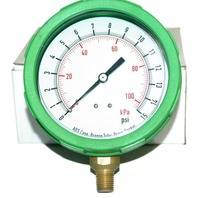 "Color Case Air Pressure Gauge- Green-4""- 0-15 PSI - New-1/4"" NPT  4EFG9"