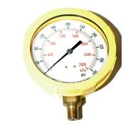 "Color Case Pressure Gauge - Yellow - 4"" Dia, 0-400PSI - NPT 1/4"" #4EFK5"