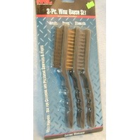 3 Pc. Wire Brush Set - Nylon, Brass and Stainless.