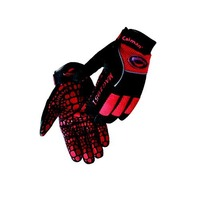 Caiman 2951-5 Large Multi Activity Glove with Silicone Gator Pattern on Synthetic Leather, Red and Black