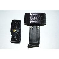 Law Pro - Leather Holder for Police: Radio, and Spray Holder.  Basket weave design.