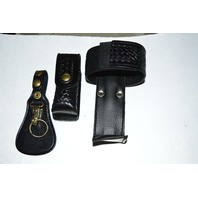 Law Pro - Leather Holder for Police: Radio and Spray.  Basket weave design.