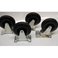"Integra Design 4"" x 1"" Rubber on Poly Ind. Casters - 2 Swivel/2 Rigid - 4 Pcs - 135 lb capacity per caster."